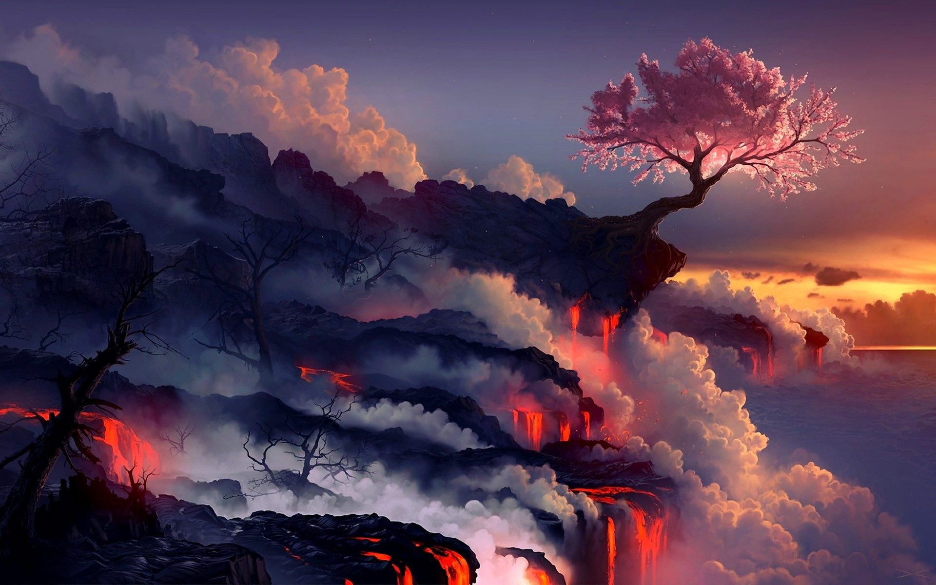 Landscapes cherry blossoms trees sea lava smoke rocks artwork drawings 1920x1200