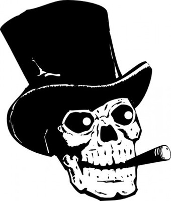 Normal skull with top hat and ccigar clip art 15521