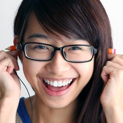 Magic pencil earphones goofy asian girl with glasses