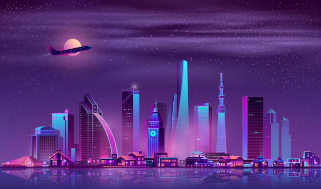 Modern metropolis night cityscape cartoon vector 1441 2959