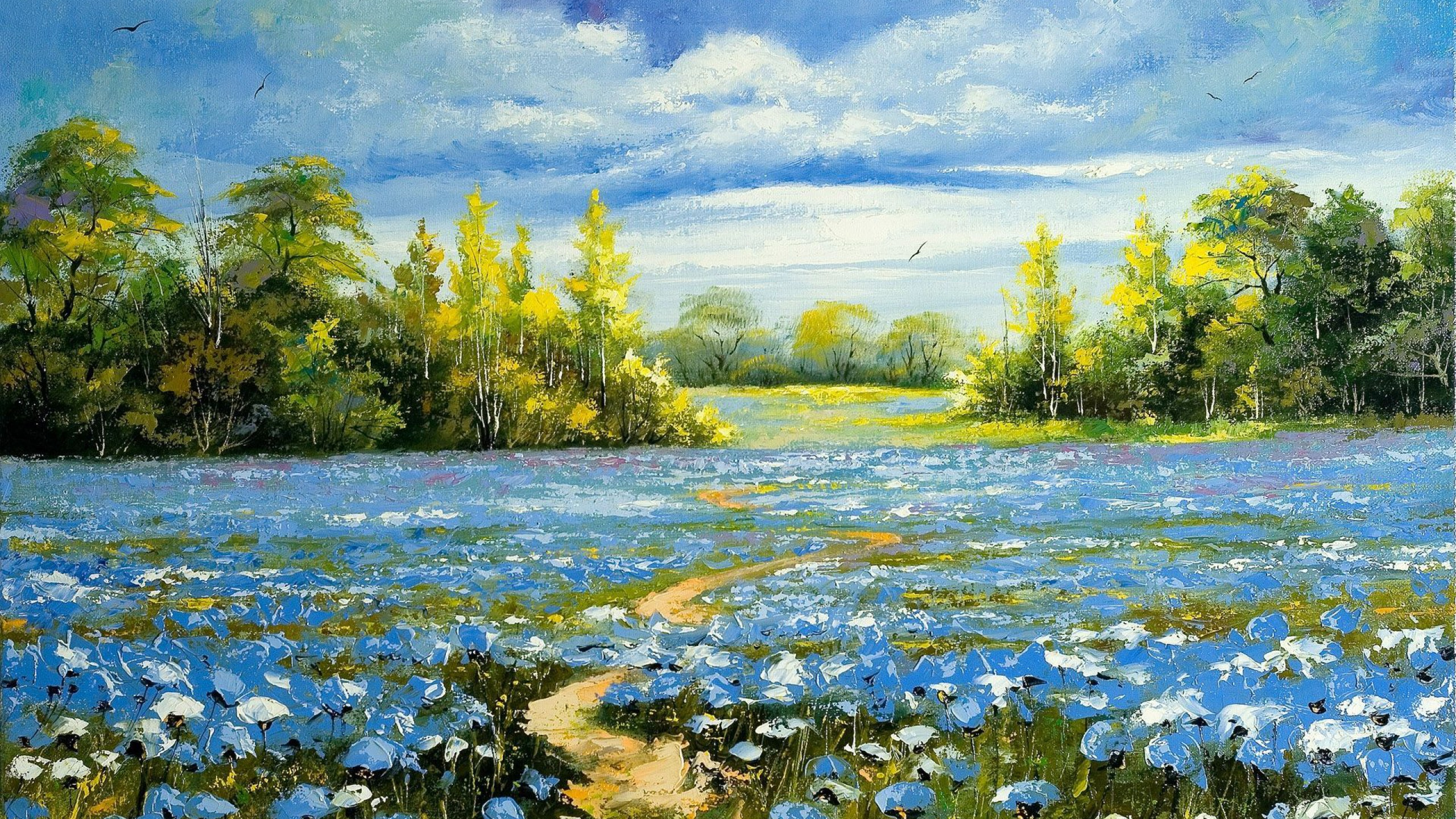 Nature paintings of blue flowers landscape